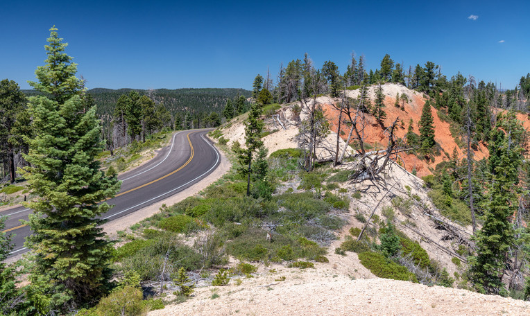 Beautiful road across Bryce Canyon National Park, Utah