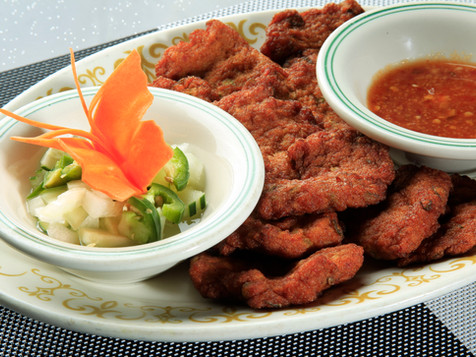 Chicken and Prawn Patties with Cucumber Chutney