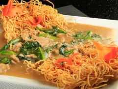 Lad Na Pork with Crispy Egg Noodles
