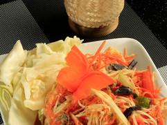 Papaya Salad with Sticky Rice on the side