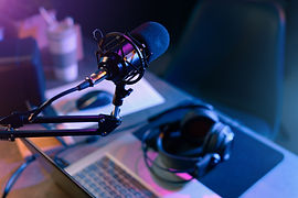 Online live radio studio desk with micro