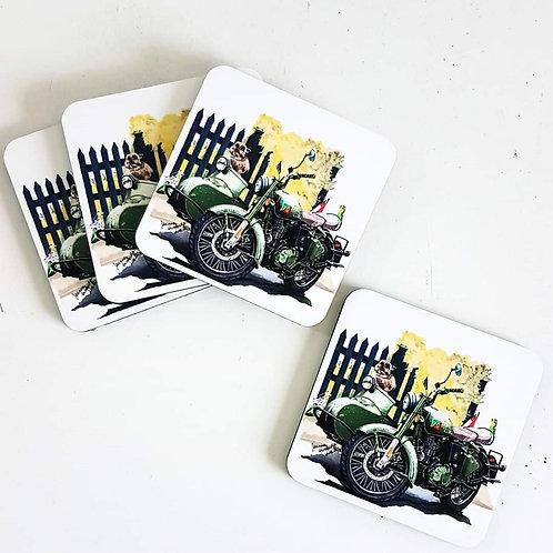 Stevie and the Bike Photo Coasters
