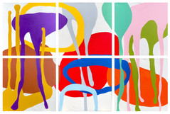 """Unit Structures 2021  (all six canvas spaced 2"""" apart) 62""""x 94"""" acrylic on canvas"""