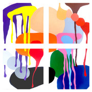 """A Love Supreme (Four canvases spaced 2"""" apart)  2021, 74""""x 74""""  acrylic on canvas  A Love Supreme is an anthem in contemporary jazz by John Coltrane. I found myself immersed in this composition and has lead to the generation of wondrous colours and slash like shapes and drops demonstrating the dynamics of the playing in this legendary work."""