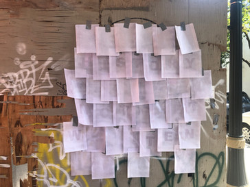 History Not Yet Written 2021, insitu, lined writing paper, inkjet printer, varnish