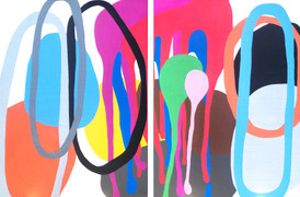 """The Creator Has a Master Plan  (diptych) 2021, 48""""x 74""""  acrylic on canvas  Spiritual jazz is a trip. Built on transcendence and freedom – spiritual, political, societal, etc., especially as it pertains to the black experience in 1960s America – it twisted jazz into a cosmic experience, incorporating worldly influences into its sound. Atmosphere exists, and it's baked into the sonics themselves."""