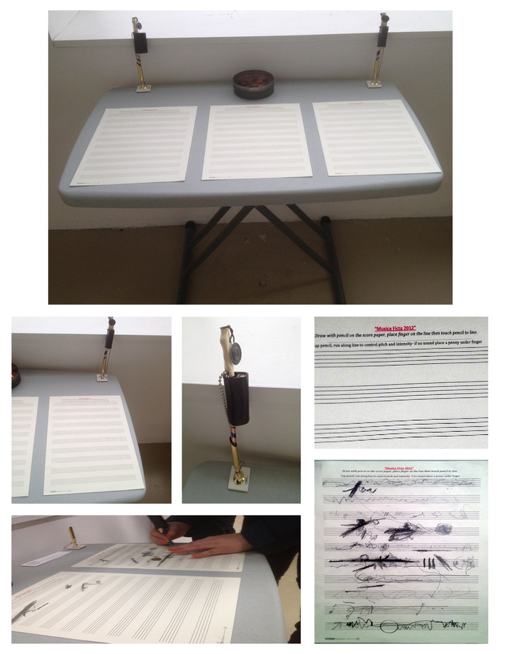 Musica Ficta Installation view, score paper, Theremin Pen, Instructions and Score #3 created by the participants.