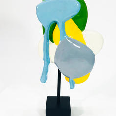 """Field and Figure  2020, 11.5""""x 7"""" x 3"""" (H 15"""" on marble base) acrylic on plaster"""