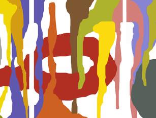 """Etudes (Australes) tripdiyth 2018  60""""x 144"""" acrylic on canvas"""