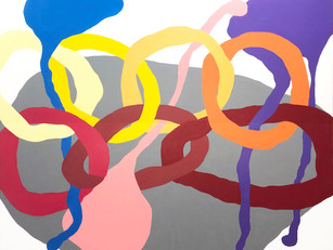 "Seven Spheres 2020, 48""x 60"" acrylic on canvas"