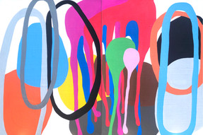 "The Creator Has a Master Plan  (diptych) 2021, 48""x 72""  acrylic on canvas"