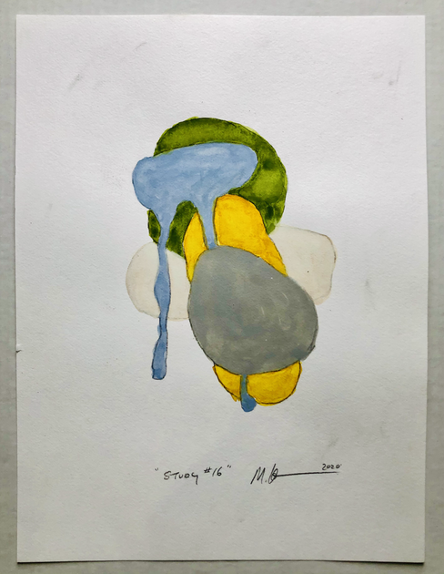 """Study #16 2020, 16""""x 12"""" watercolour on paper"""
