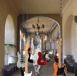Rock and a Hard Place 2019 (digital study)  Rock and a Hard Place is a participatory sound installation that compels participants to pass through a throng of live electric guitars. This is a reflection of my experiences of crowded spaces.  Rock and a Hard Place shares with the participant my own ordeals of the physical interactions in a crush of people that is found in locations such as: busy streets, public transit and shopping malls, Instead of the inevitable frustration found in these situations my sound installation creates music.  Each guitar is attached to both an effects pedal (delay or fuzz or distortion, etc.) and a amplifier (as illustrated in this digital study). The instruments are suspended from the ceiling of the location by large springs. The springs allow the guitars to move freely as people walk through them. When the participant's make contact with the guitars, the instruments react to this interaction causing them to bounce, tap the participant as well as each other causing a noise backlash, bringing fourth my own under the breath curses from my encounters with others in overcrowded locations. .  The Rock and a Hard Place installation's guitars are to be placed closely together in a thru fare that viewers must pass through to reach another location. As they pass through this multitude of guitars participates are forced to interact with the instruments creating accidental, improvised compositions that continually vary as others walk through. The sounds escalate as the guitars bounce, swing and vibrate from the contact.  The crush of the crowd is an experience that can be said is an everyday occurrence. The crowd can also be a metaphor for life's trials where these experiences forces each of us to deal with the situations that surround as well as the everyday tribulations. Rock and a Hard Place generates empathetic communication between participants creating a site of self-examination as well as collective relations.