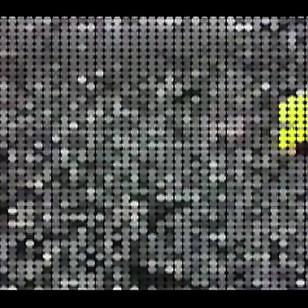 "Flotsam (Single Channel Video)  2012  3min 39 sec animated video  Flotsam is an animated video thriller, inspired by Michelangelo Antonioni's 1966 ""Blow Up"", realized through a process of extreme pixelation. The work originated as a live action video that has been re-animated into a mass of coloured dots. Seemingly abstract, the dots articulate landscape and become visual action cues on a screen of moving coloured pixels. The narrative is conveyed through the viewers' eyes as they wander through a rocky cove in rural Newfoundland and stumble upon the unexpected."