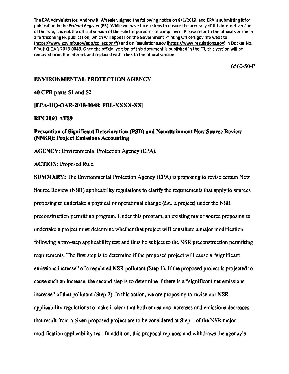 Picture of pre-publication notice