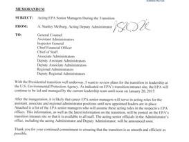 EPA Names Transition Team