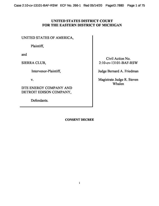 DTE and DOJ to settle Monroe Case