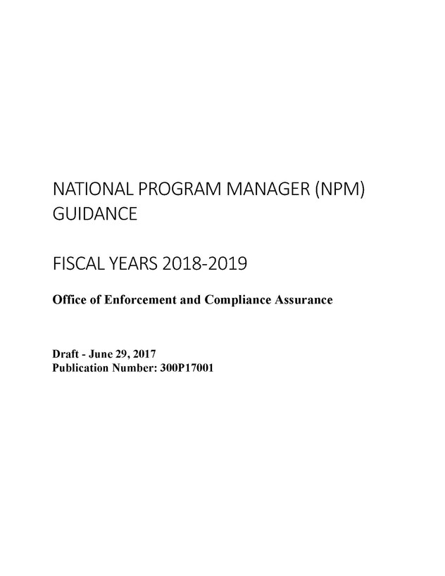 Draft EPA OECA National Program Manager Guide Lays Out NSR and Other Enforcement Priorities for FY20