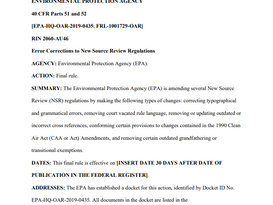 "EPA Issues ""NSR Corrections"" Rule"
