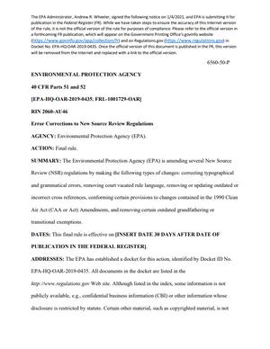 "EPA Issues ""NSR Corrections"" Rule"
