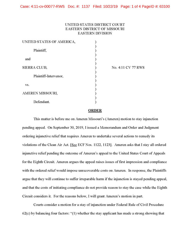 Ameren Missouri court partially stays relief