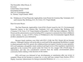 EPA Withdraws Limetree Bay PAL