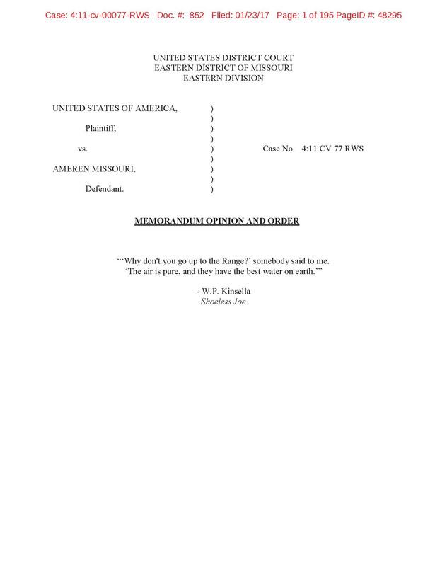 U.S. District Court in Missouri holds that Ameren Missouri Violated PSD Program