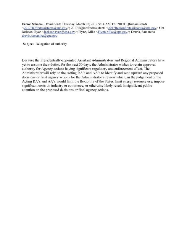 EPA Administrator Temporarily Rescinds Delegations