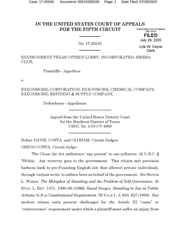 Fifth Circuit Remands Baytown Citizen Penalty for Standing Inquiry