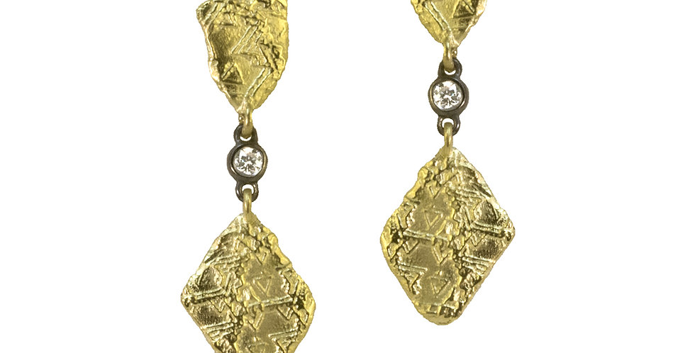 Trigon Double Dangle Diamond Earrings