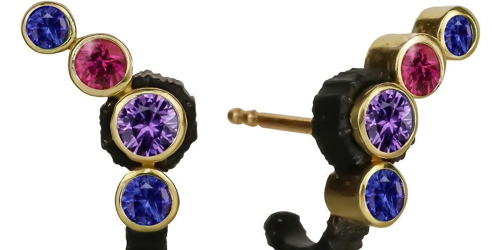 Chroma Climber Purple, Pink and Blue Sapphire Stud Earring