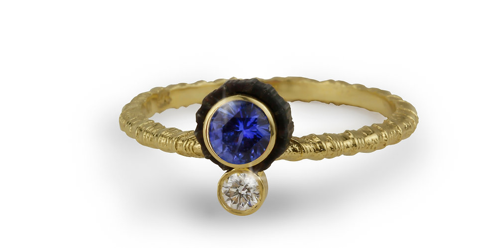 Chroma Double Stone Offset Blue Sapphire and Diamond Ring