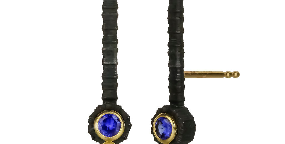 Chroma Lobe Cuff Sapphire and Diamond Stud Earrings