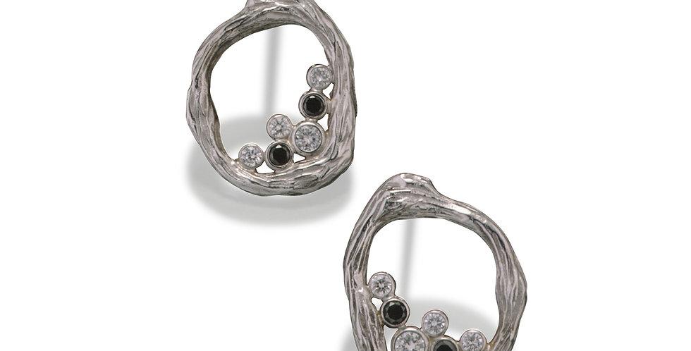 Pebble Diamond Single Link Post Earrings