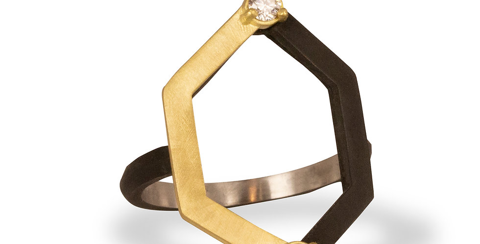 Hex Harlequin Diamond Ring