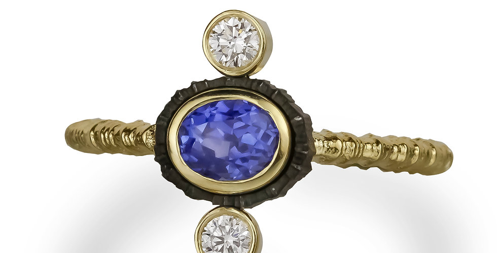 Chroma Triple Stone Vertical Sapphire and Diamond Ring