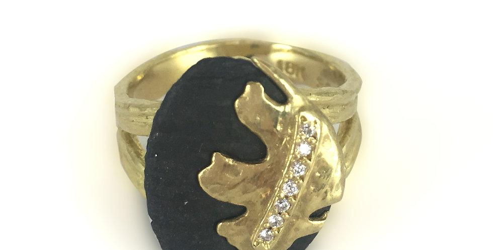 Oak Leaf Diamond Diamond Stone Ring