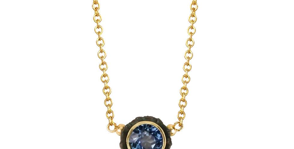 Chroma Two Stone Teal Sapphire and Diamond Pendant