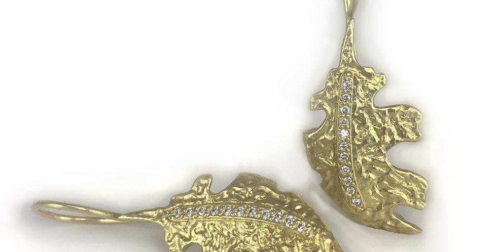 Oak Leaf Diamond Medium Leaf Wire Earrings