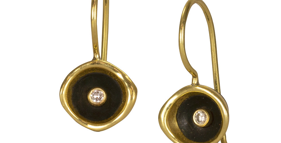 Confluence Two Tone Small Cup Diamond Wire Earrings