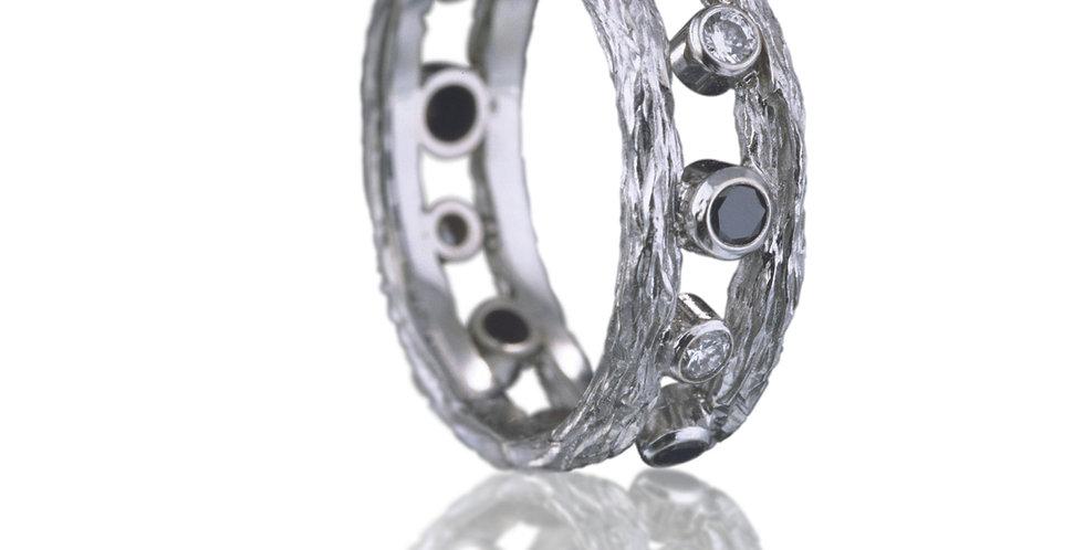 Pebble Double Diamond Stacker Ring