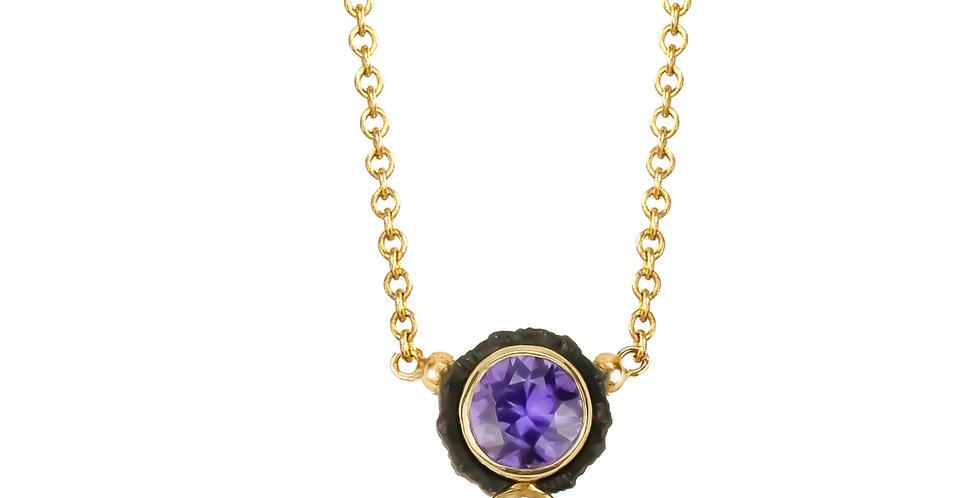 Chroma Two Stone Purple Sapphire and Diamond Pendant