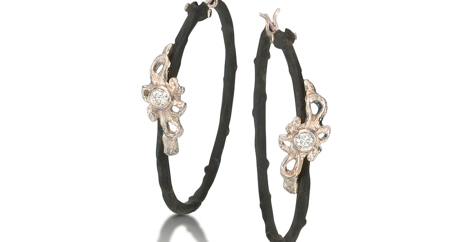Shadow Diamond Dome Vine Hoop Earrings