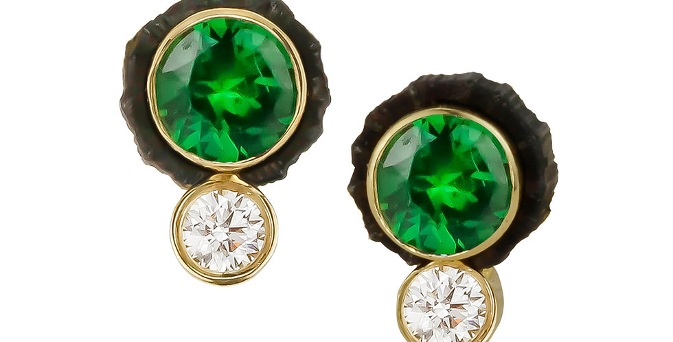 Chroma Two Stone Tsavorite Garnet and Diamond Stud Earring