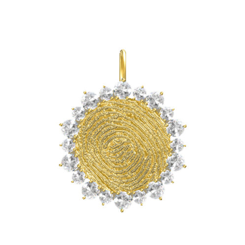 Round Disk Halo Prong Pendant