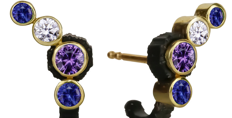 Chroma Climber Blue and Purple Sapphire and Diamond Stud Earring