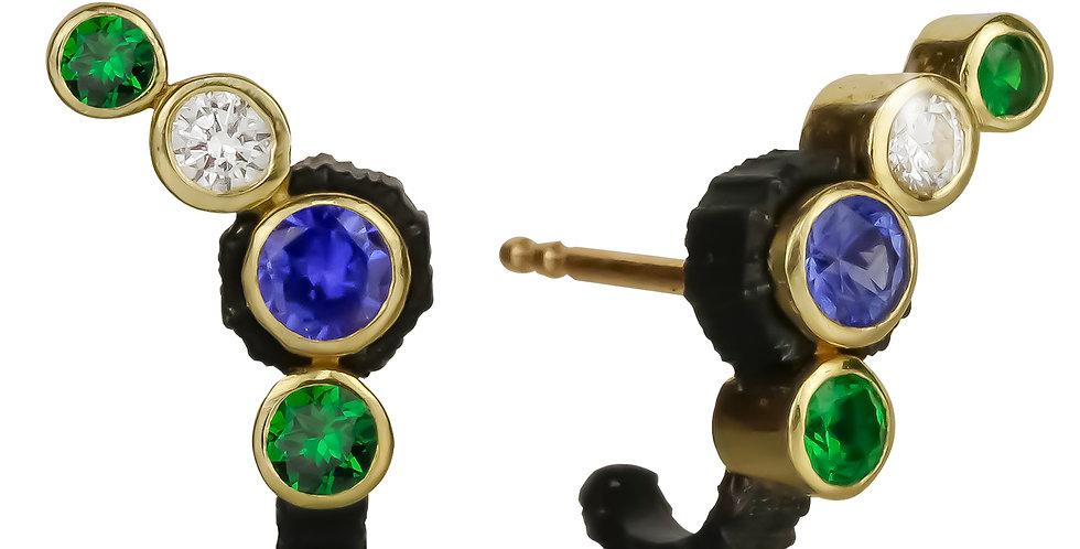 Chroma Climber Sapphire, Tsavorite Garnet and Diamond Stud Earring
