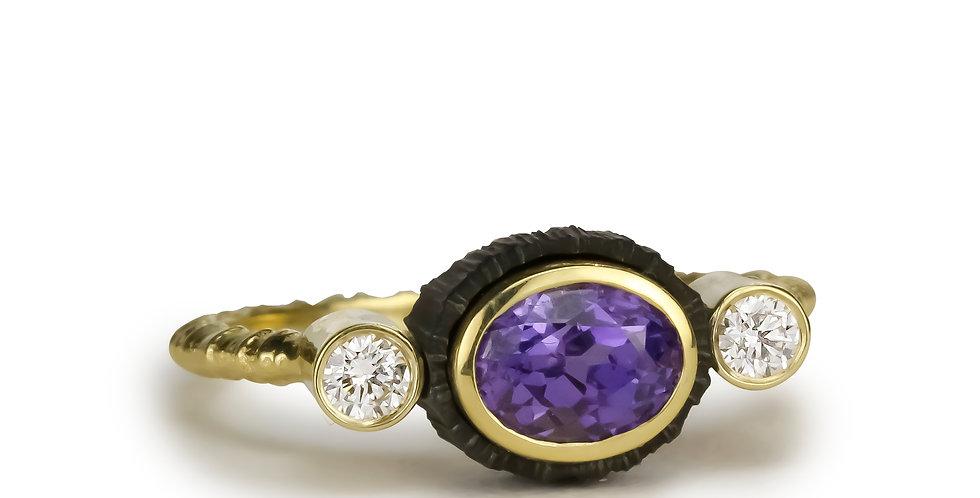 Chroma Triple Stone Purple Sapphire and Diamond Ring