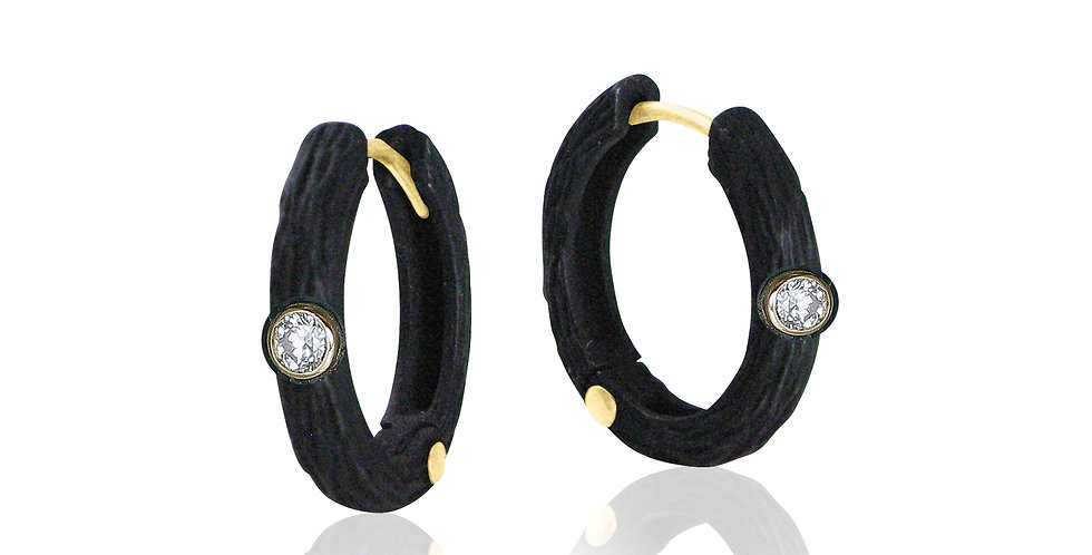 Pebble Small Diamond Hinged Hoops