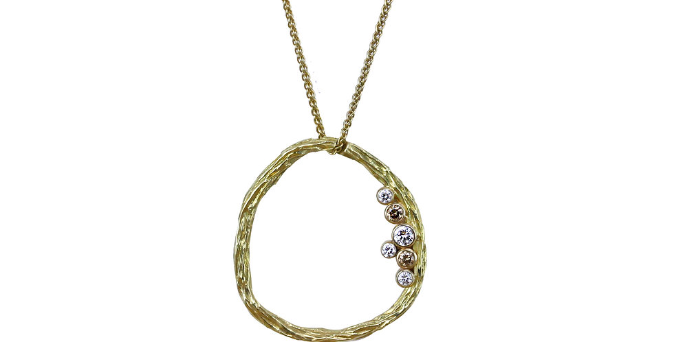 Pebble Medium Circle Diamond Necklace